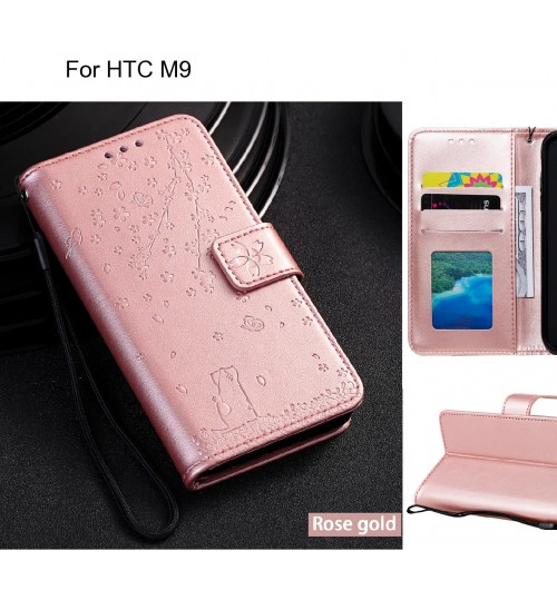 HTC M9 Case Embossed Wallet Leather Case