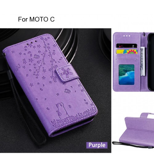 MOTO C Case Embossed Wallet Leather Case