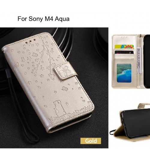 Sony M4 Aqua Case Embossed Wallet Leather Case