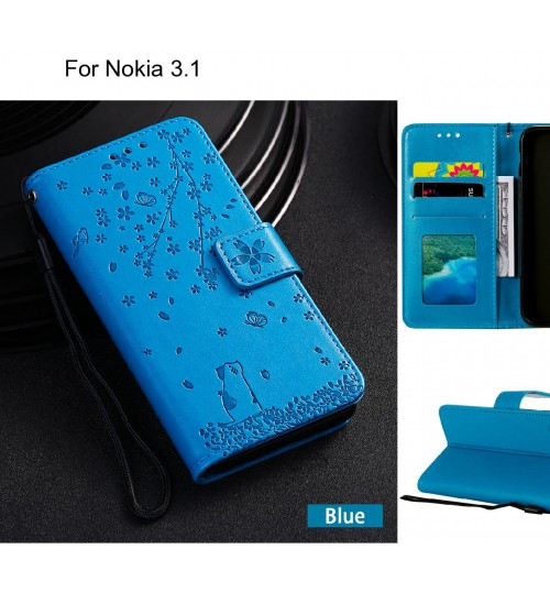 Nokia 3.1 Case Embossed Wallet Leather Case