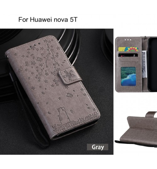 Huawei nova 5T Case Embossed Wallet Leather Case