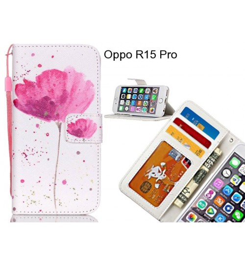 Oppo R15 Pro case 3 card leather wallet case printed ID