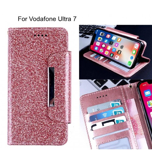 Vodafone Ultra 7 Case Glitter wallet Case ID wide Magnetic Closure