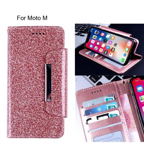 Moto M Case Glitter wallet Case ID wide Magnetic Closure