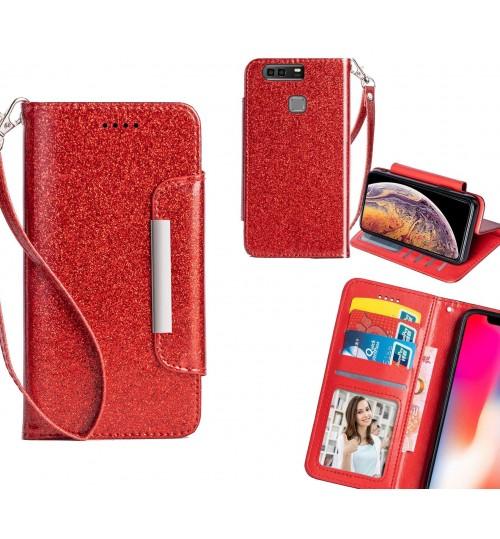 Huawei P9 Plus Case Glitter wallet Case ID wide Magnetic Closure