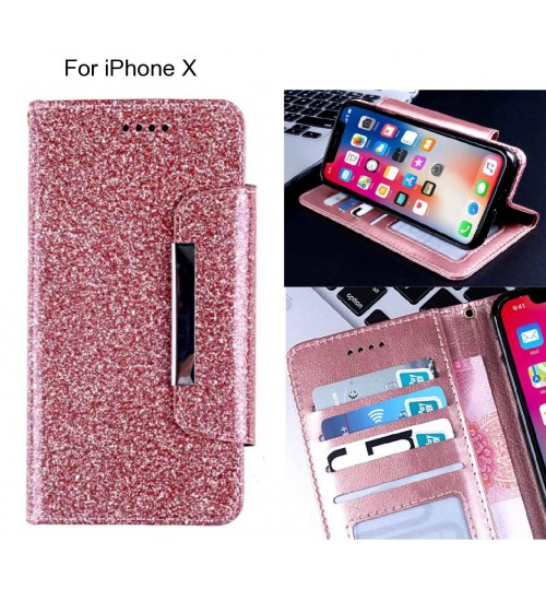 iPhone X Case Glitter wallet Case ID wide Magnetic Closure