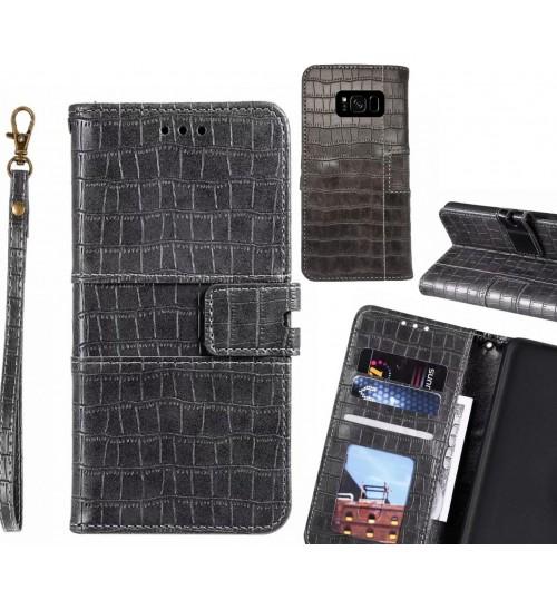 Galaxy S8 plus case croco wallet Leather case