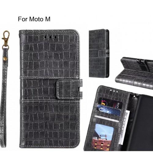 Moto M case croco wallet Leather case