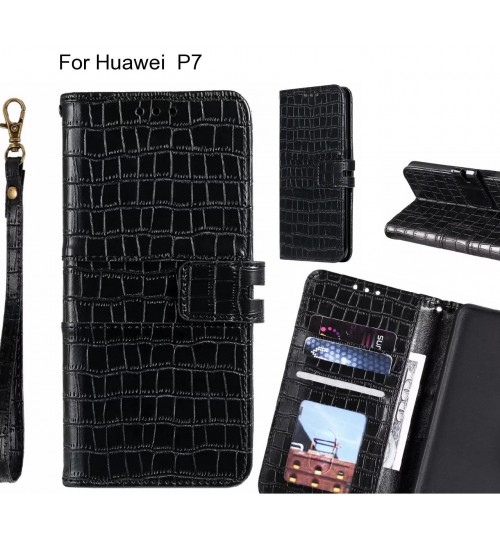 Huawei  P7 case croco wallet Leather case