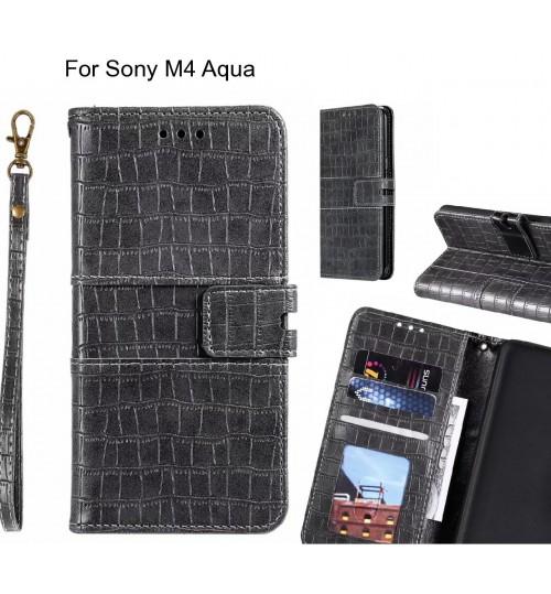 Sony M4 Aqua case croco wallet Leather case
