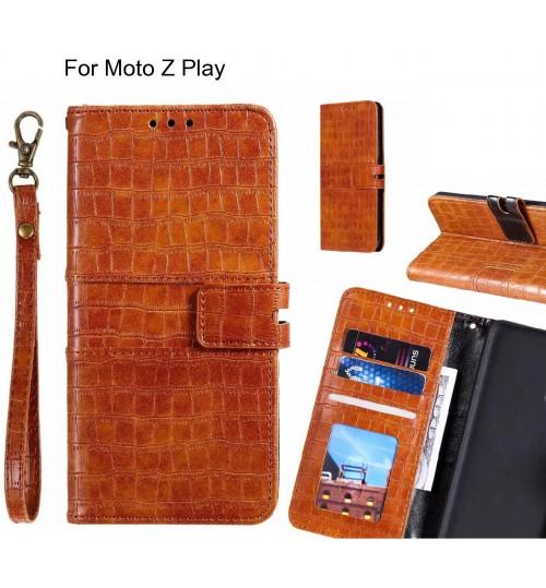 Moto Z Play case croco wallet Leather case