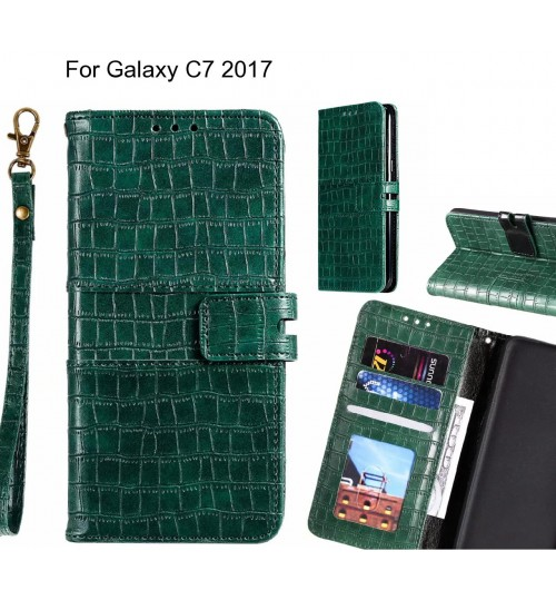 Galaxy C7 2017 case croco wallet Leather case