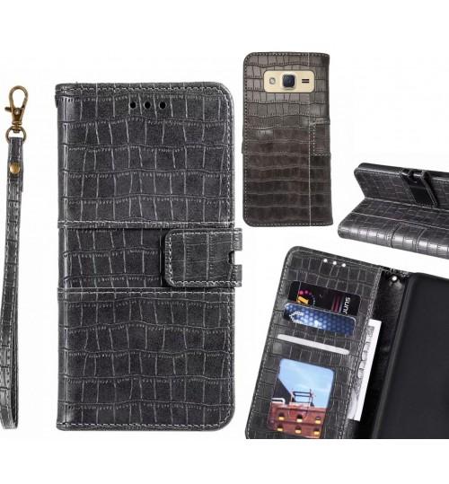 Galaxy J2 case croco wallet Leather case