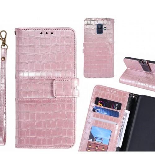 Galaxy A6 2018 case croco wallet Leather case
