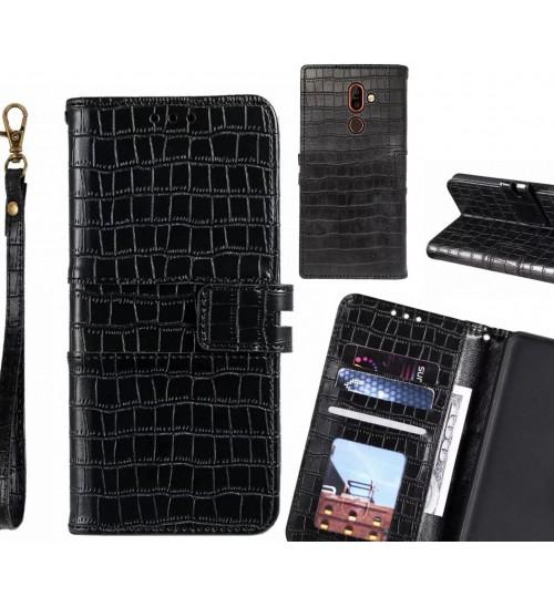 Nokia 7 plus case croco wallet Leather case