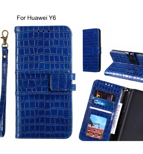 Huawei Y6 case croco wallet Leather case
