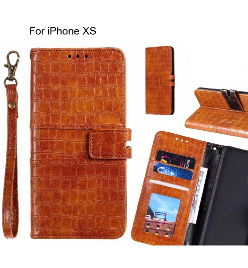 iPhone XS case croco wallet Leather case