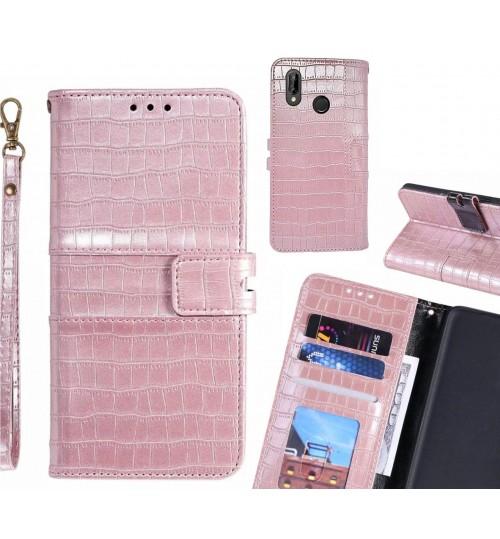 Huawei nova 3e case croco wallet Leather case