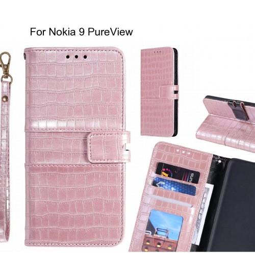 Nokia 9 PureView case croco wallet Leather case