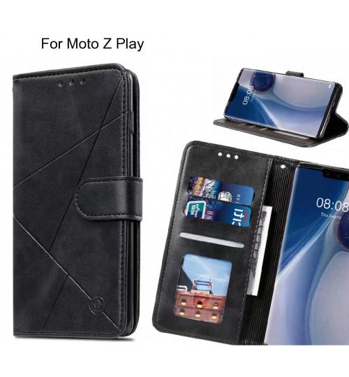 Moto Z Play Case Fine Leather Wallet Case