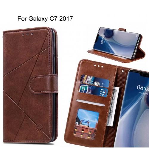 Galaxy C7 2017 Case Fine Leather Wallet Case