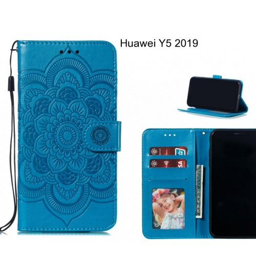 Huawei Y5 2019 case leather wallet case embossed pattern