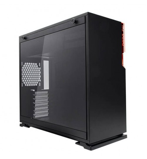 IN WIN 101 BLACK ATX CASE TEMPERED GLASS SIDE PANEL LED FRONT I/O NO PSU
