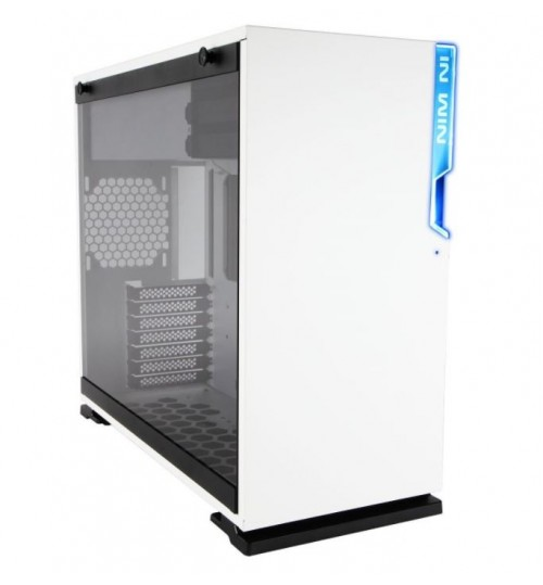 IN WIN 101 WHITE ATX CASE TEMPERED GLASS SIDE PANEL LED FRONT I/O NO PSU
