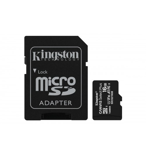 KINGSTON 16GB MICROSDHC CANVAS SELECT PLUS CL10 UHS-I CARD + SD ADAPTER UP TO 100/85 MB/S READ/WRITE