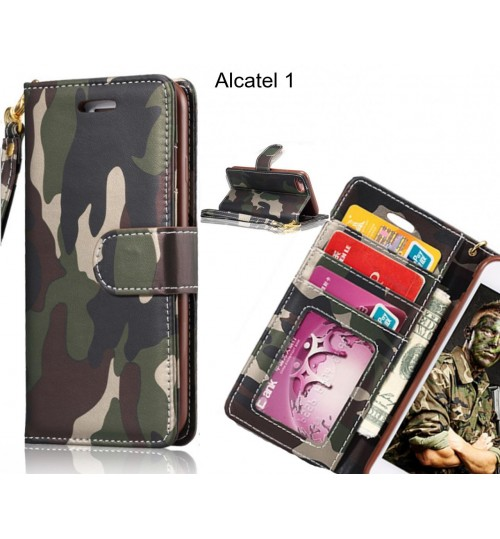 Alcatel 1 case camouflage leather wallet case cover