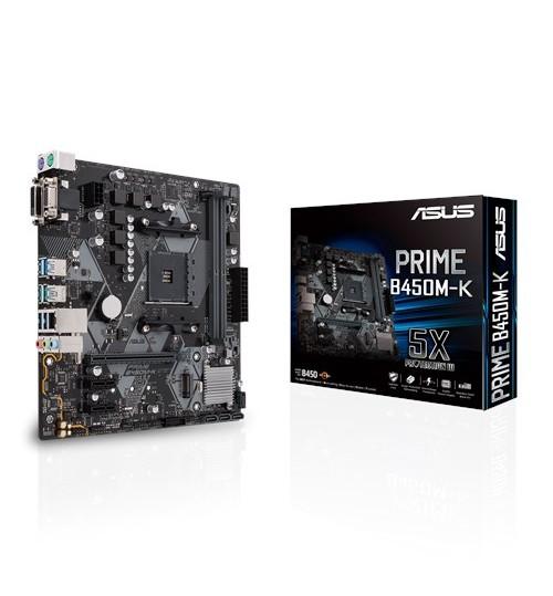 ASUS PRIME B450M-K AMD B450 AM4 M-ATX 2XDDR4-3200 PCI-E3.0 SATA3 M.2 RAID DVI-D VGA PORTS
