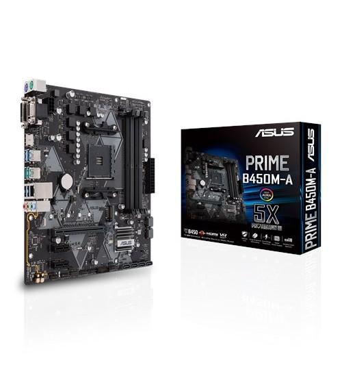 ASUS PRIME B450M-A AMD B450 AM4 M-ATX 4XDDR4-3200 PCI-E3.0 SATA3 M.2 RAID HDMI DVI-D VGA PORTS