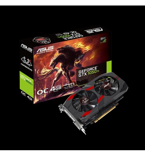 ASUS CERBERUS-GTX1050TI-O4G CERBERUS GeForce GTX1050TI OVERCLOCKED 4GB GDDR5 PCI-E 3.0 DVI-D HDMI DISPLAY PORT