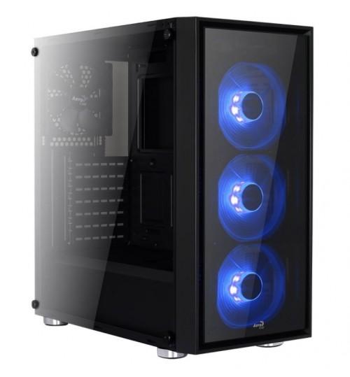 AEROCOOL QUARTZ BLUE LED FANS BLACK MIDI TOWER