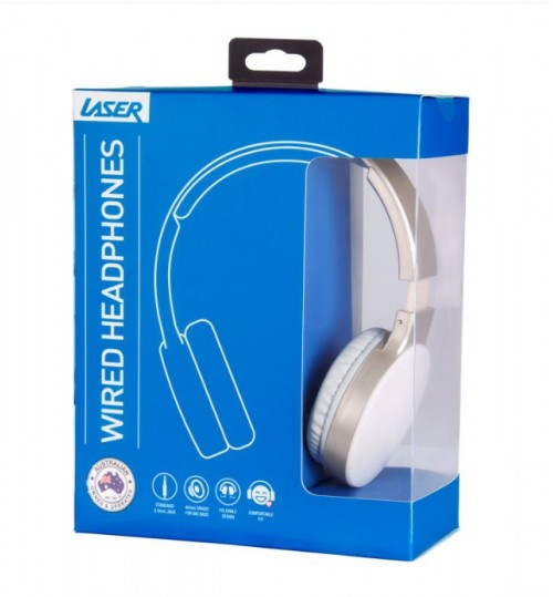 FOLDABLE HEADPHONES WITH 3.5MM CABLE ON-EAR PADDED DESIGN GOLD WHITE