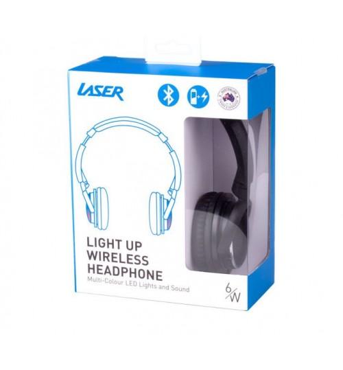 LASER BLUETOOTH HEADPHONE WITH LEDS - BLACK