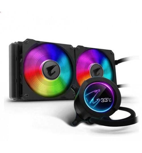 AORUS LIQUID COOLER 280 All-in-one Liquid Cooler with Circular LCD Display RGB Fusion 2.0 Dual 140mm ARGB Fans