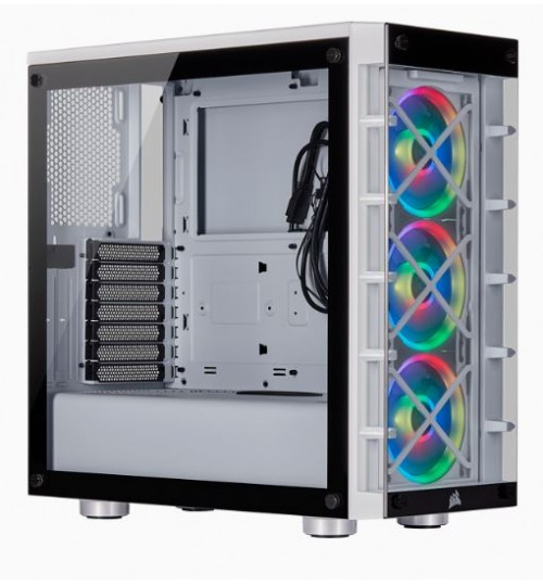 CORSAIR CRYSTAL 465X RGB TEMPERED GLASS MID-TOWER SMART CASE - WHITE