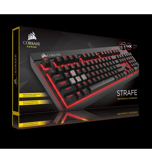 CORSAIR GAMING STRAFE MECHANICAL GAMING KEYBOARD BACKLIT RED LED CHERRY MX BLUE