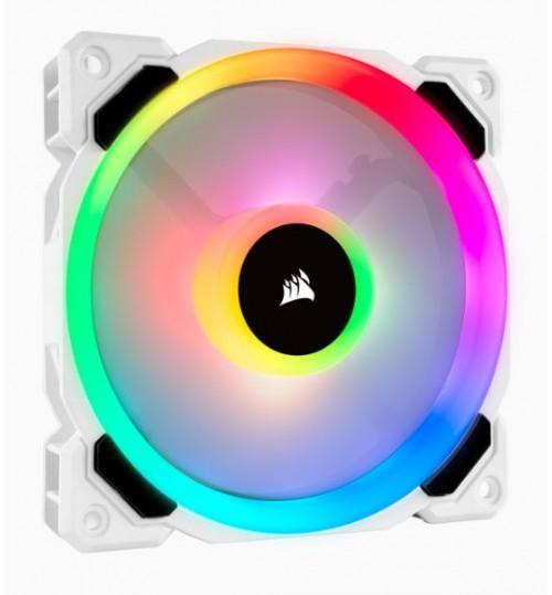CORSAIR LL SERIES LL120 RGB 120MM DUAL LIGHT LOOP RGB LED PWM FAN SINGLE PACK - WHITE BODY