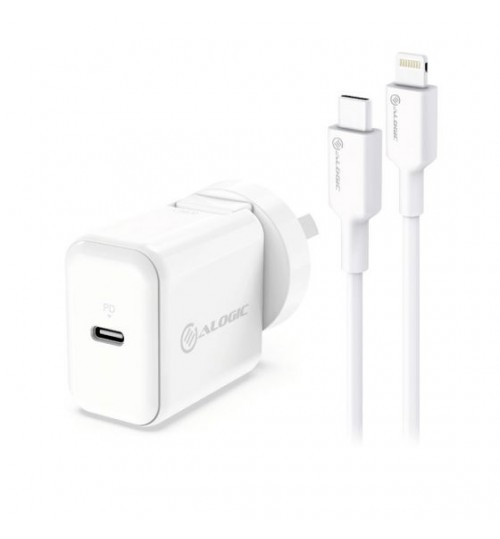 ALOGIC COMBO PACK USB-C 18W WALL CHARGER WITH POWER DELIVERY AND USB-C TO LIGHTNING CABLE - WHITE