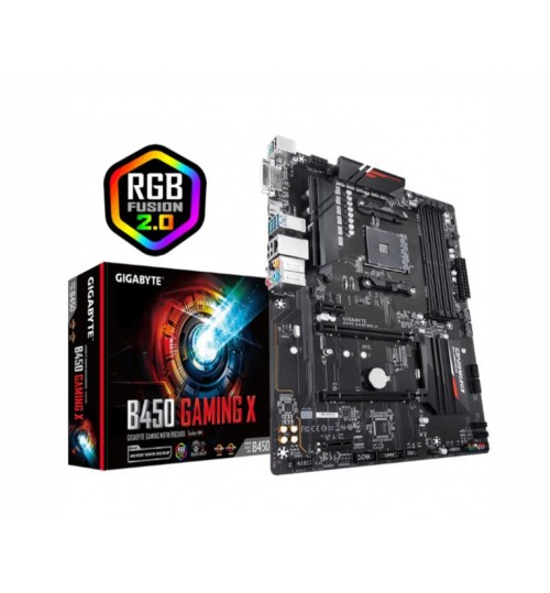 Gigabyte B450 Gaming X ATX Motherboard For AMD Ryzen 2nd/3rd Gen Socket AM4 B450 4XDDR4 DIMM 2XPCIE X16 2XPCIE X1 8XUSB LAN HDMI/DVI
