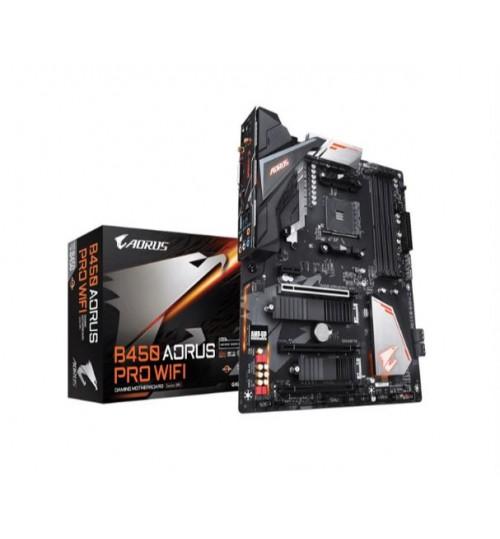 GIGABYTE B450 AORUS PRO WIFI ATX MOTHERBOARD AMD B450 CHIPSET FOR AMD RYZEN AM4 4X DDR4 - 3200GHZ 2X M.2SATA3 USB3.1 GEN2 HDMI DVI. WI-FI 802.11
