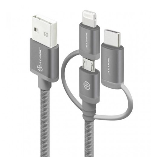 ALOGIC 3 IN 1 RUGGED CHARGE AND SYNC CABLE. MICRO USB LIGHTING AND USB-C 30CM - SPACE GREY