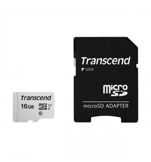 TRANSCEND TS16GUSD300S 16GB UHS-I U1 MICROSD MEMORY CARD WITH SD ADAPTOR