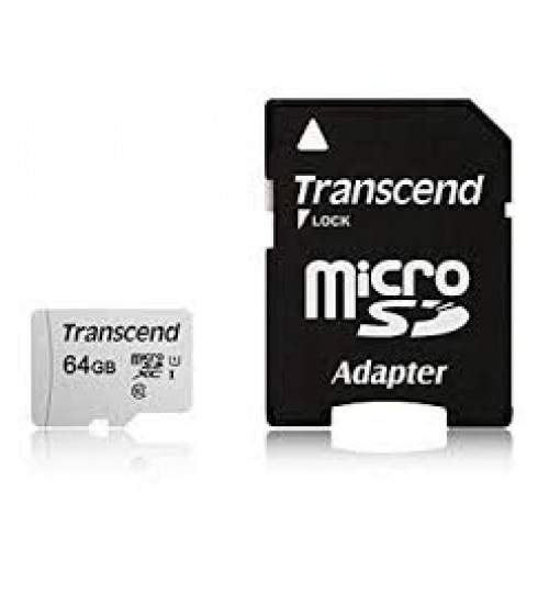 TRANSCEND TS64GUSD300S 64GB UHS-I U1 MICROSD MEMORY CARD WITH SD ADAPTOR