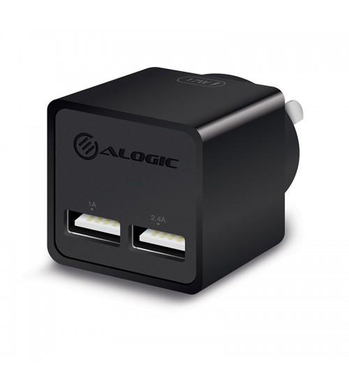 ALOGIC 2 PORT USB MINI WALL CHARGER - 2.4A + 1A - 17W - BLACK