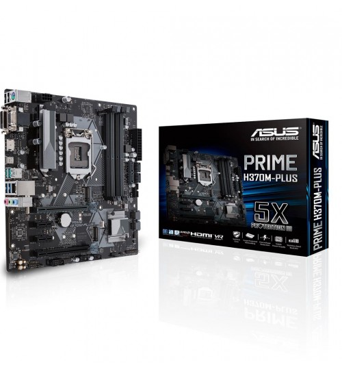 ASUS PRIME H370M-PLUS INTEL H370 M-ATX COFFEE LAKE SOCKET 1151 4XDDR4-2666 PCI-E3.0 USB3.1 SATA3 M.2 RAID HDMI/DVI-D/VGA