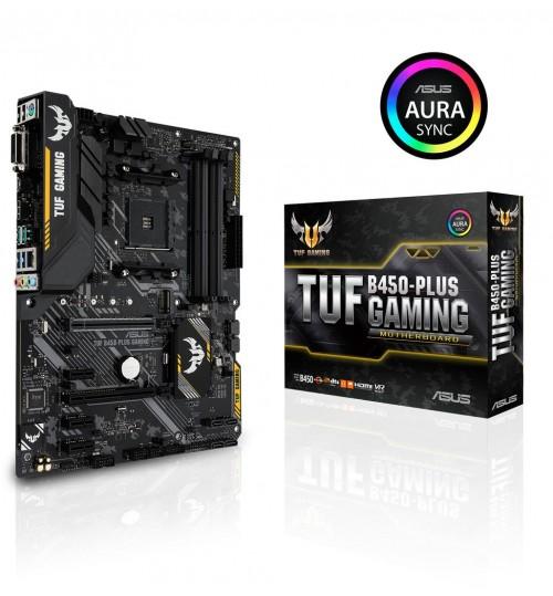 ASUS TUF B450-PLUS GAMING AMD B450 AM4 ATX 4XDDR4-3200 PCI-E3.0 SATA3 M.2 RAID HDMI DVI-D PORTS