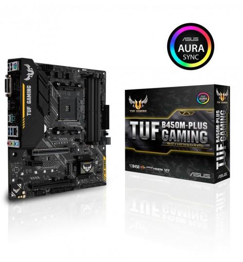 ASUS TUF B450M-PLUS GAMING AMD B450 AM4 M-ATX 4XDDR4-3200 PCI-E3.0 SATA3 M.2 RAID HDMI DVI-D PORTS
